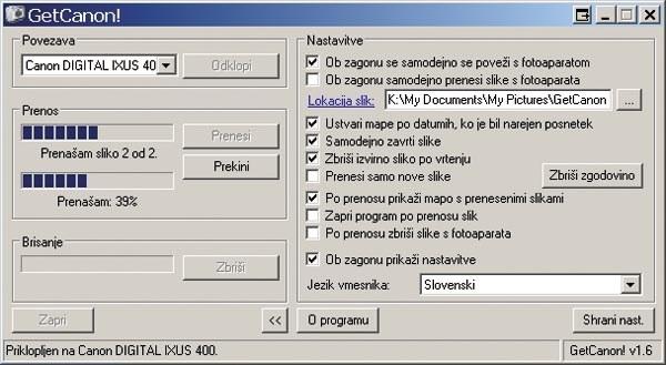 Program za prenos slik iz fotoaparata na raunalnik 1